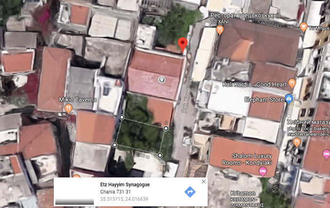 Chania Cemetery at Etz Chayim Synagogue map