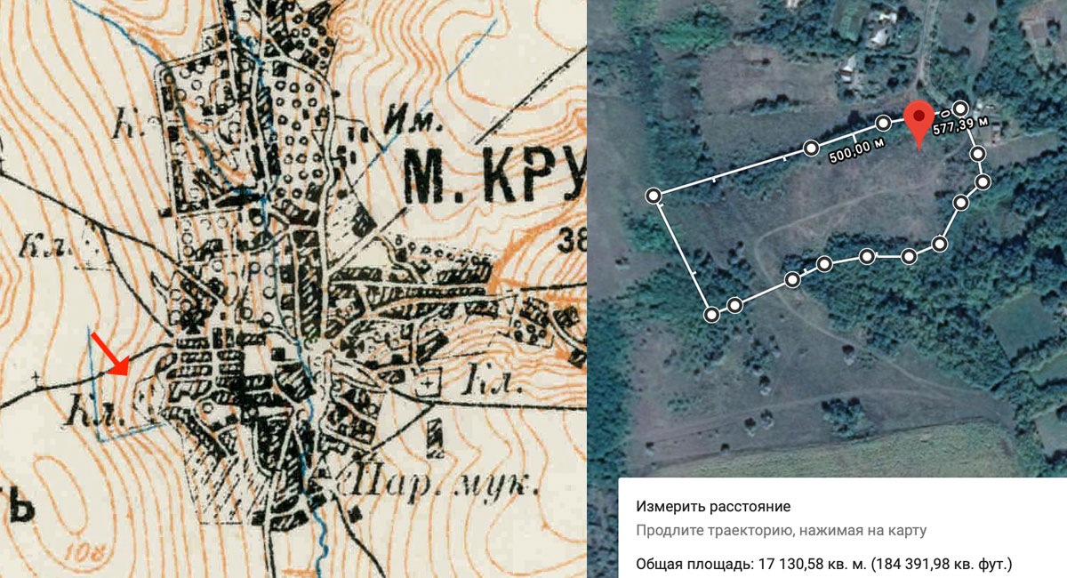 Kruti Jewish Cemetery old map and perimeter