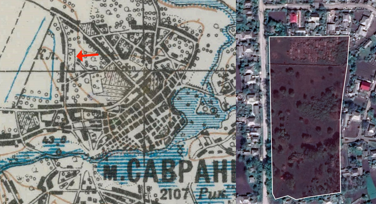 Savran' Jewish cemetery old map and perimeter