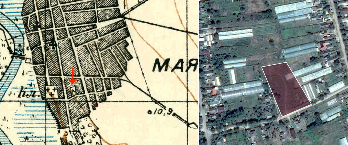 Mayaky Jewish Cemetery old map and perimeter