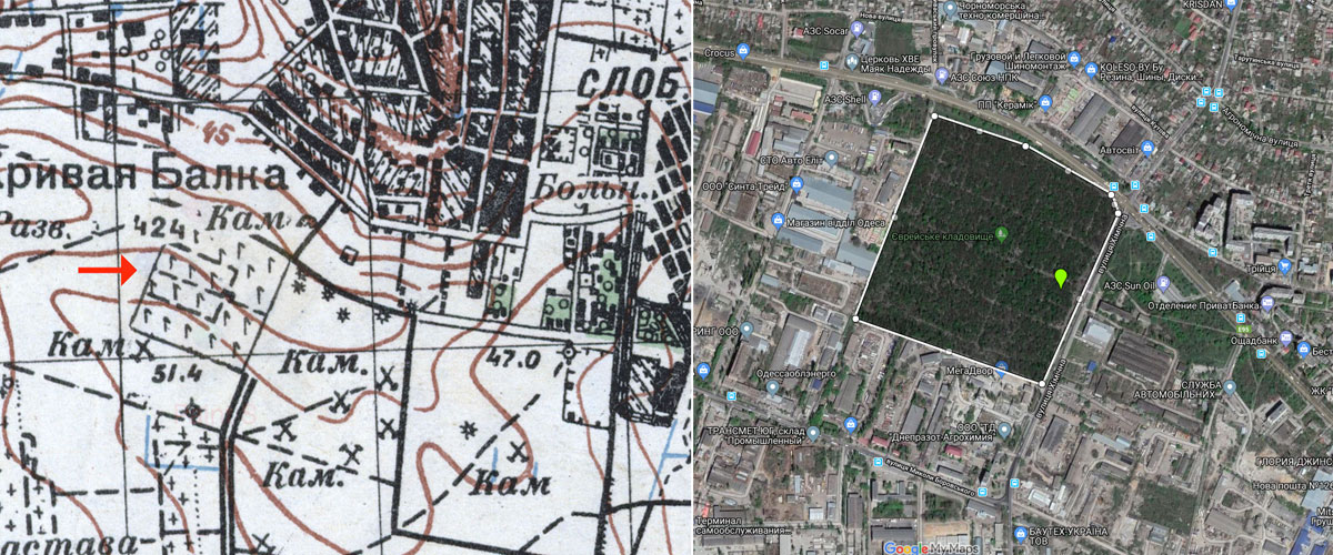 Odesa Third Jewish Cemetery old map and perimeter