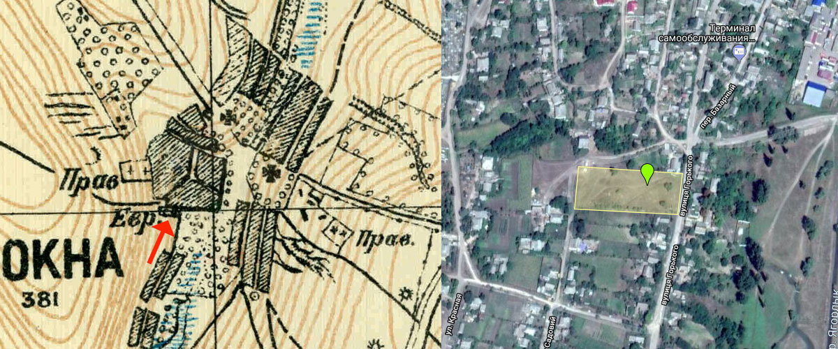 Okny Jewish Cemetery old map and perimeter