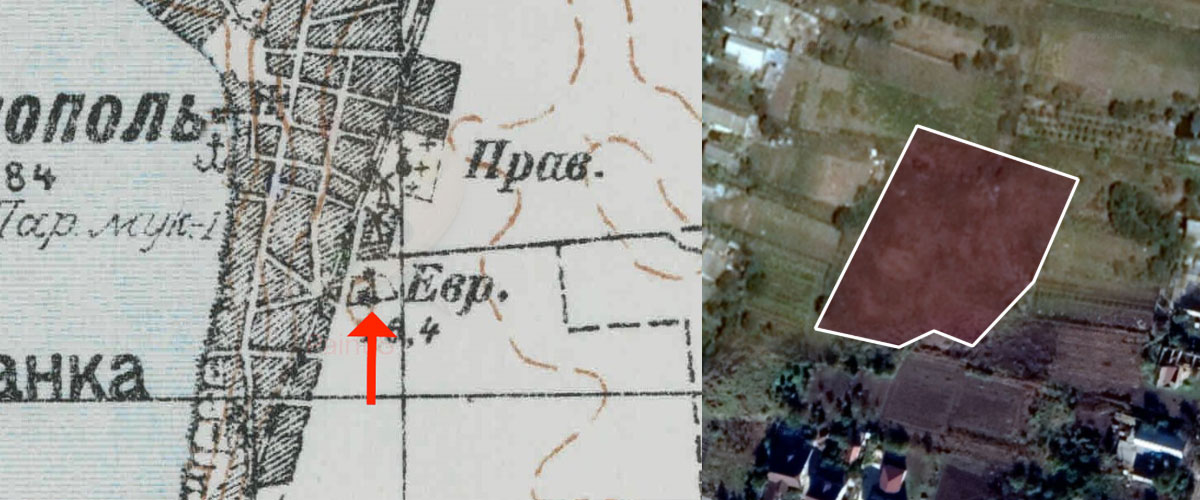 Ovidiopol Jewish Cemetery old map and perimeter