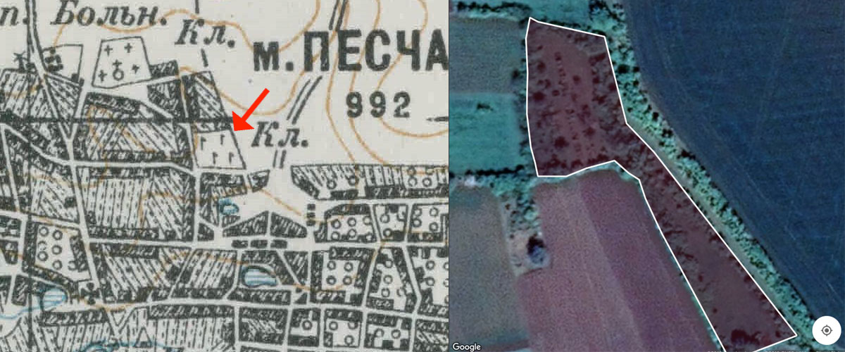 Pishchana Jewish Cemetery old map and perimeter