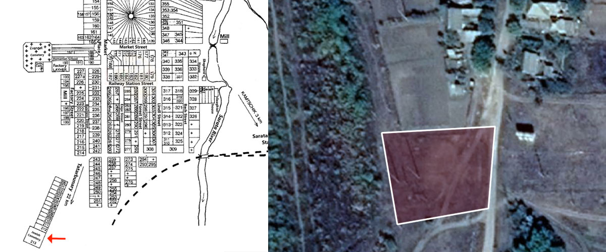 Sarata Jewish Cemetery old map and perimeter