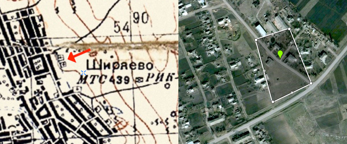 Shyryayeve Jewish Cemetery old map and perimeter